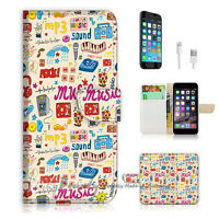 ( For iPhone 6 / 6S ) Wallet Case Cover! Music Pattern Icon P1444
