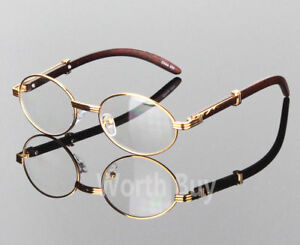 Womens Men Retro Vintage Clear Lens Yellow Gold Wood Frame Fashion Eye Glasses