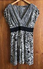 WAREHOUSE CAP SLEEVE DRESS Size 12 Black/Beige Print, Deep V Front, Flippy Skirt