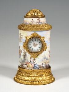 EMAIL TISCH UHR WATTEAU MALEREI & FEUERVERGOLDUNG TABLE CLOCK VIENNA UM 1880