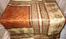 Brown Cream Pure Silk 4 yd Vintage Antique Sari Saree Lady daily deals UK #6HNAZ