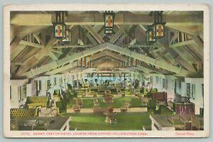Yellowstone Wyoming~Grand Canyon Hotel Lounge~1920s Postcard
