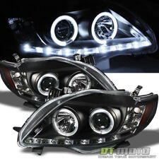 Black 2009-2010 Toyota Corolla DRL LED Projector Halo Headlights Lamp Left+Right