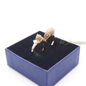 NIB Swarovski 5448907 March Squirrel Motif Ring Gold Tone Multi Color Size 58+60