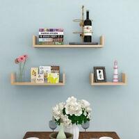 Set of 3 U Shape Floating Shelves Wall Mounted Storage Room Display Shelf Unit