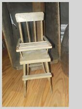 ANTIQUE CHILDS WOODEN HIGH CHAIR W/ LIFTING FOOD TRAY-SIGNED 1927-ORIGINAL PAINT