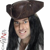 Authentic Pirate Tricorn Hat Distressed Brown Mens Fancy Dress Costume Accessory
