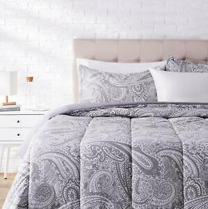 Twin XL Full Queen King Bed Gray Grey White Paisley 3 pc Comforter Set Bedding