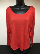 B16 Scoop Neck Tee Shirt Size Med Bella Luxx Womens Red Long Sleeve Blouse