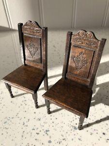 Dolls house miniature 1:12 ARTISAN Medieval / Tudor chairs x 2 by NORMAN JONES