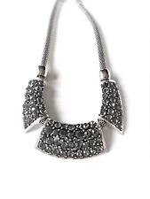 Stunning Chunky Tribal Dark Crystal Stone Silver Designer Style Collar Necklace