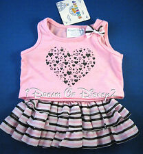 NEW BUILD-A-BEAR STRIPED SKIRT SET PINK HEART TOP & TUTU TEDDY CLOTHES OUTFIT