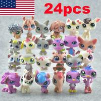 24pcs Littlest Pet Shop Lot Animal Hasbro LPS Figure Xmas Toys Gift Cats Dogs!!