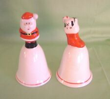 Christmas Bells Santa Claus and Stocking Porcelain Pair Set of 2 Vtg Red White