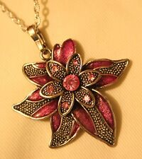 Lovely Raised Pointed Silvertone Petal Pinkish Violet Flower Pendant Necklace