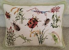 """Colorful Bugs 100% Wool Handmade Petite Needlepoint Pillow 16"""" by 12"""""""