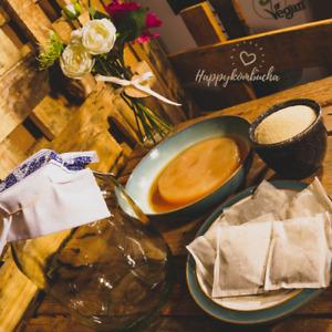 Organic Kombucha starter kit, includes tea and sugar scoby, jar and starter tea