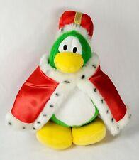 "Club Penguin KING PENGUIN 8"" Plush STUFFED ANIMAL Toy w/ Crown Minor Cape Damage"