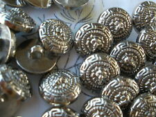 "100 bulk Lion buttons 16MM 24L silver color 5/8"" Versace style Greek Key pattern"