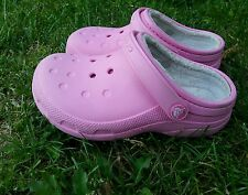Crocks Clog Ralen  Girls Pink  Sandals Size J 1 Fuzz Lined Winter Shoes Relaxed