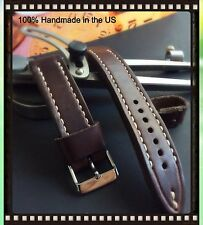 Müller&Son Genuine Horween Leather 18 mm Brown Watch Strap Custom Made in USA