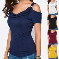 Women Summer Solid Off Shoulder Draped Collar Short Sleeve Top T-Shirt Blouse