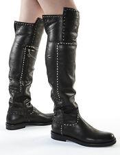 Authentic Fabi  Leather Italian Designer Boots Black New 6,7,8,9,10,11