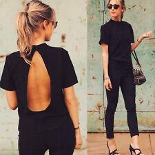 2016 Mode Frauen Freizeit Kurzärmelig Rückenfrei Chiffon T-shirt Oberteile Bluse