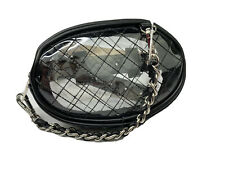 STEVE MADDEN WOMEN`S BELT WAIST BAG WITH QUILTED CLEAR DETAILS BLACK 7 X 5 IN