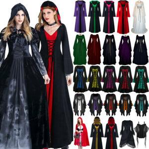 Damen Mittelalter Halloween Fasching Maxikleid Gothic Party Hexe Cosplay Kostüme