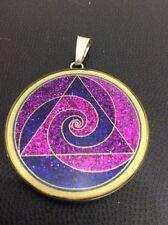 "$72 Necklace Tri Spiral Surf Pendant 1.5/8"" Turquoise Gemstone medallion Divine"