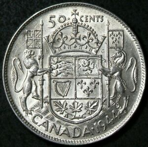 1944 Canada 50 Cents Silver Narrow Date Near 4 Good Luster #12886