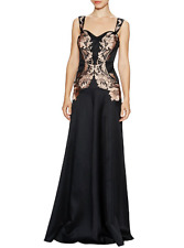 $3100 Temperley London Black Long Iris Embroidery Silk/Cotton Blend Dress 6