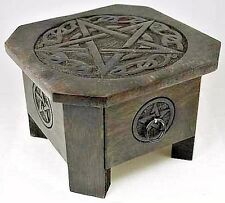 "Celtic Pentagram Altar Table w/ Drawer Wood 7 1/2"" x 5"" Wicca Pagan Occult Magic"