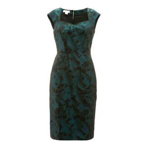 MONSOON ELLEN GREEN & BLACK SATIN SHIFT DRESS RRP £95 Sizes 6,8,10