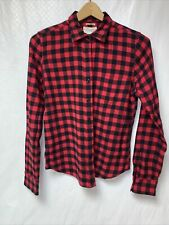 Denim & Supply Ralph Lauren Womens Medium Tomboy Fit Button Down Shirt Red Plaid