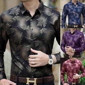 Moda Camisa Para Hombre de Vestir Mangas Largas Hojas de Arbol Ropa Fina Slim