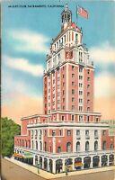 OLD Linen Postcard CA F055 Elks Club Sacramento California Street View Spangler