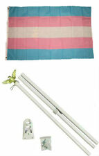 3x5 Gay Pride Trans Transgender Rainbow Flag w/ 6' Ft White Flagpole Kit