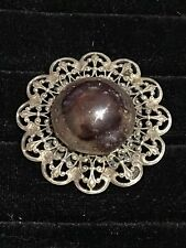 Brooch Metal Silver/Paste of Glass / Years 60
