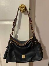 Dooney Bourke Hand Bag Leather Navy Blue Handbag Tassle Red Inside