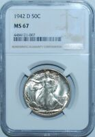 1942 D NGC MS67 Walking Liberty Half Dollar