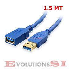 CABLE ALARGADOR USB 3.0  A MACHO - HEMBRA AM/AF 1,5 METROS ALTA VELOCIDAD 5GB/S