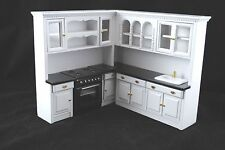 Kitchen Set  White T5296 dollhouse miniature 4pc  1/12 scale painted wood