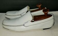 Salvatore Ferragamo White Blue Loafers Driving Shoes 10 D
