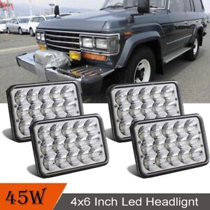 """4""""x6"""" Crystal Clear Sealed Beam LED Headlights For Chevy Pickup Truck 81-87 Ford"""