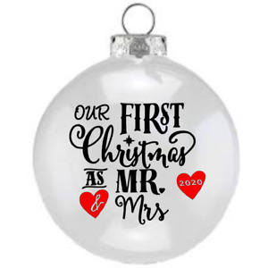 X2 Vinyl Decal OUR FIRST 1ST CHRISTMAS AS MR&MRS  MR&MR MRS&MRS For Bauble