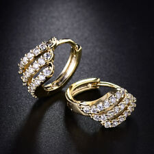Yellow Gold Filled Hollow Shell Diamond Crystal Women Lady Huggies Hoop Earrings