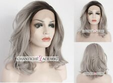 Best Short Bob Lace Front Wigs Synthetic Hair Short Wavy Ombre Silver Gray Wigs