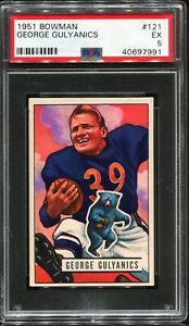 1951 Bowman Football #121 GEORGE GULYANICS Chicago Bears PSA 5 EX